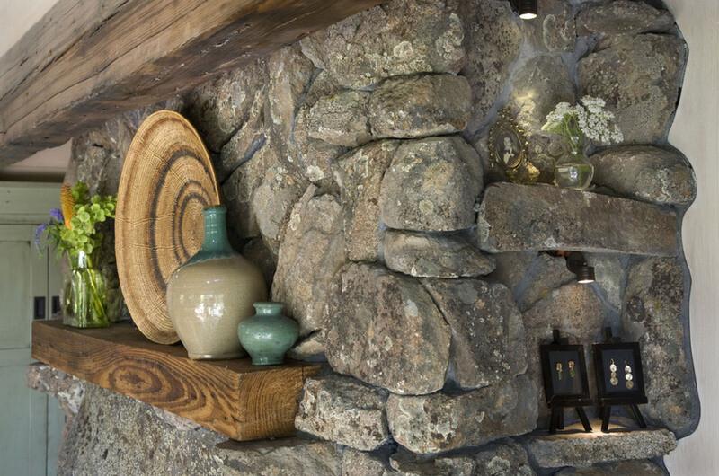 fireplace stone detail