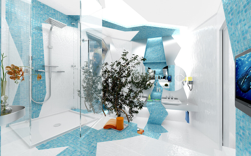 Dance of geometry and color in the bathroom