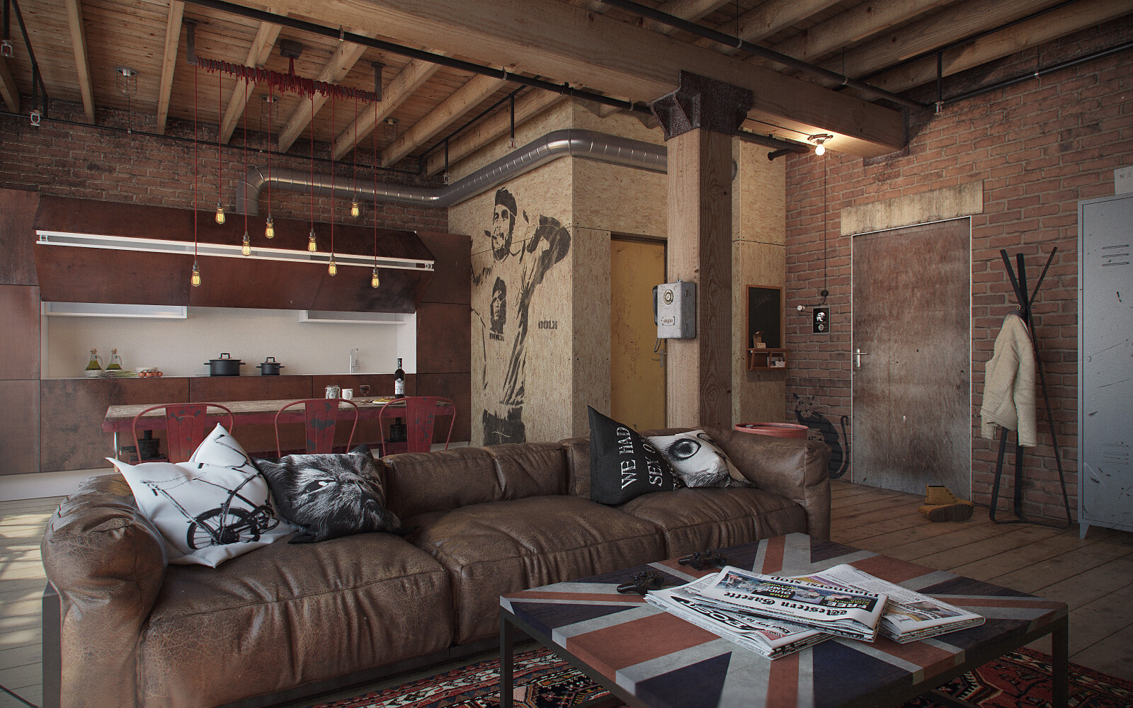 Chic loft style studio dedicated to the free active man for Decorating den interiors