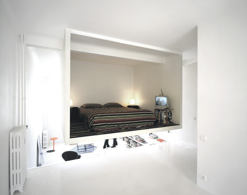 The Chez Valentin apartment - Suspended bedroom,  an original solution for a 50 square meters apartment (8)