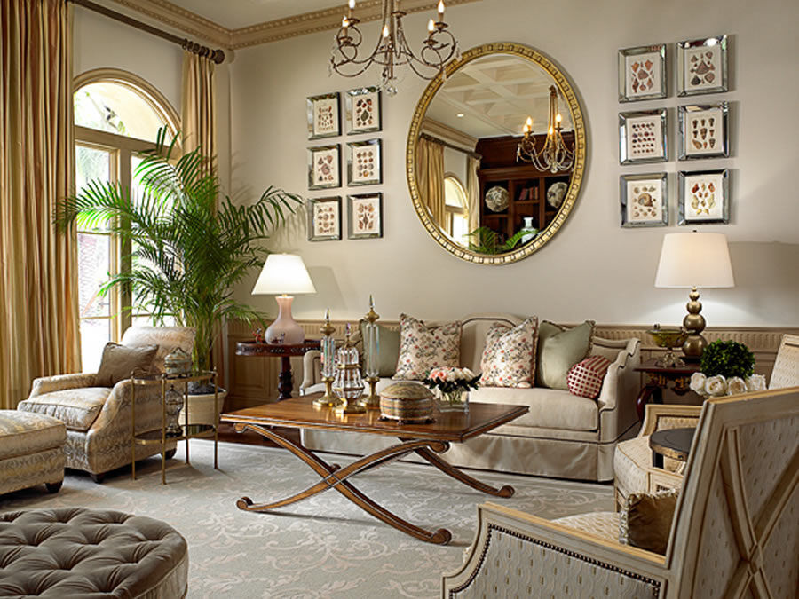 A beautiful selection of 15 living rooms decorated in for Elegant southern home decorating ideas