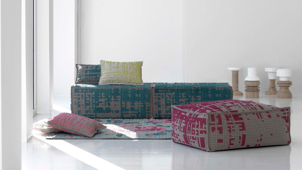New collection of rugs, pouffes and cushions by Charlotte Lancelot partnered with Gandia Blasco's GAN division