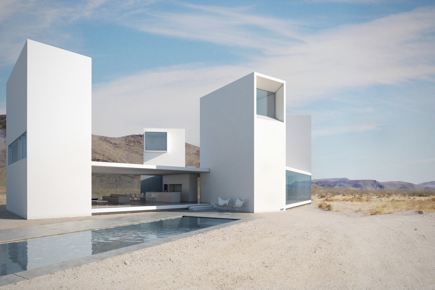Contemporary architecture and a night in the desert by for Minimalist house architecture