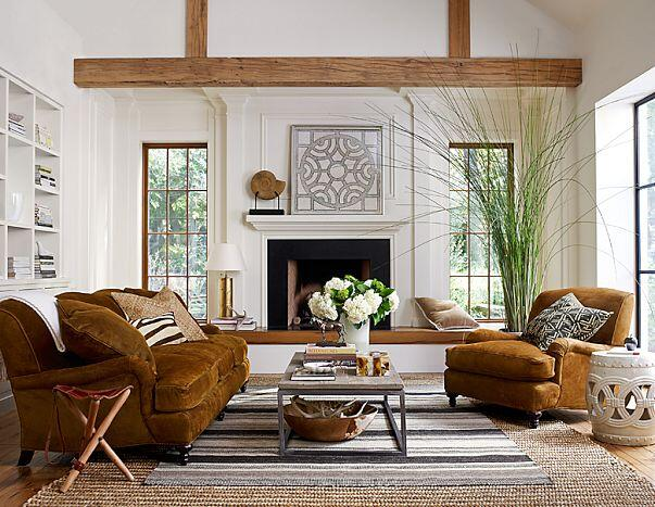 Modern living room with rustic accents (11)