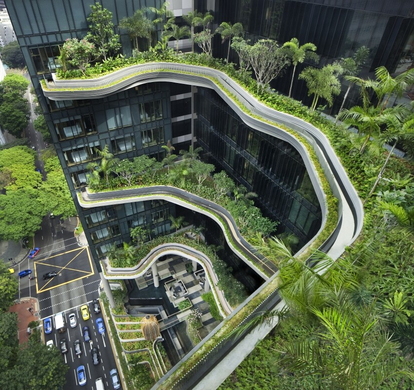 Parkroyal on Pickering Hotel from Singapore, by WOHA Architects