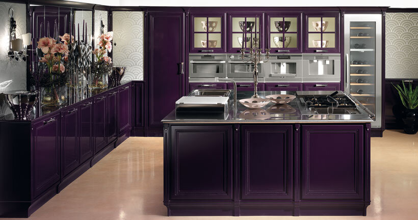 The kitchen in purple – contemporary luxury and traditional design