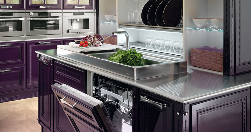 purple kitchen - contemporary luxury and traditional design by Brummel (3)