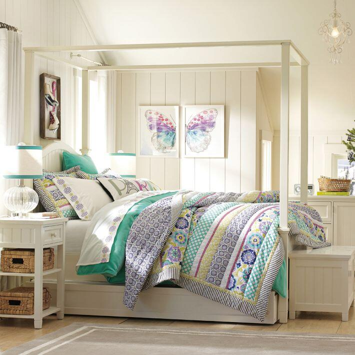 Bedroom ideas - canopy bed with contemporary design PB Teen
