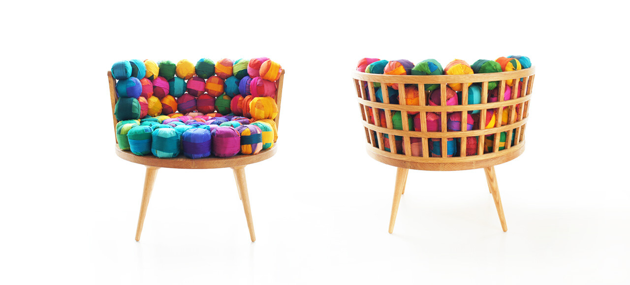 Eco furniture from recycled silk remnants by meb rure for Waste material products