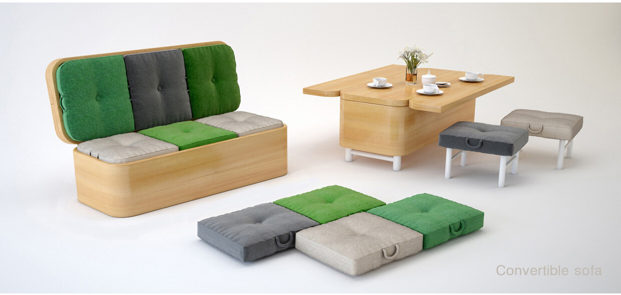 Multifunctional furniture convertible sofa by julia kononenko - Small space convertible furniture image ...