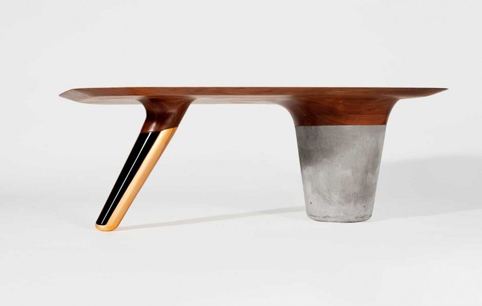 CS1 Collection by Asfrei interaction between walnut wood, concrete and copper  - www.homeworlddesign. com (1)