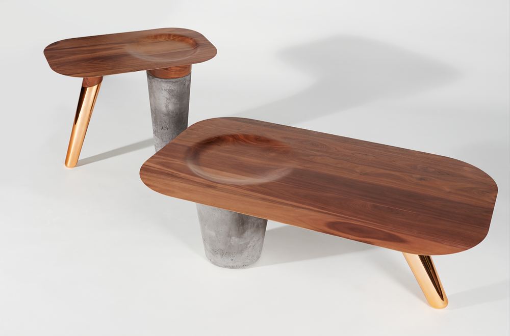 Cs1 collection interaction between wood concrete and copper Concrete and wood furniture