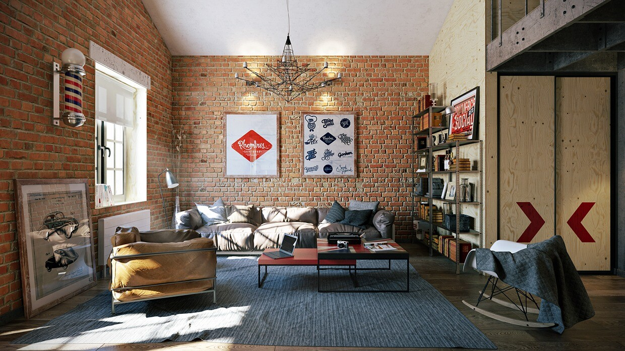 Attractive Loft Apartment With An Interior Design Made By Pavel Vetrov - Loft apartment brick