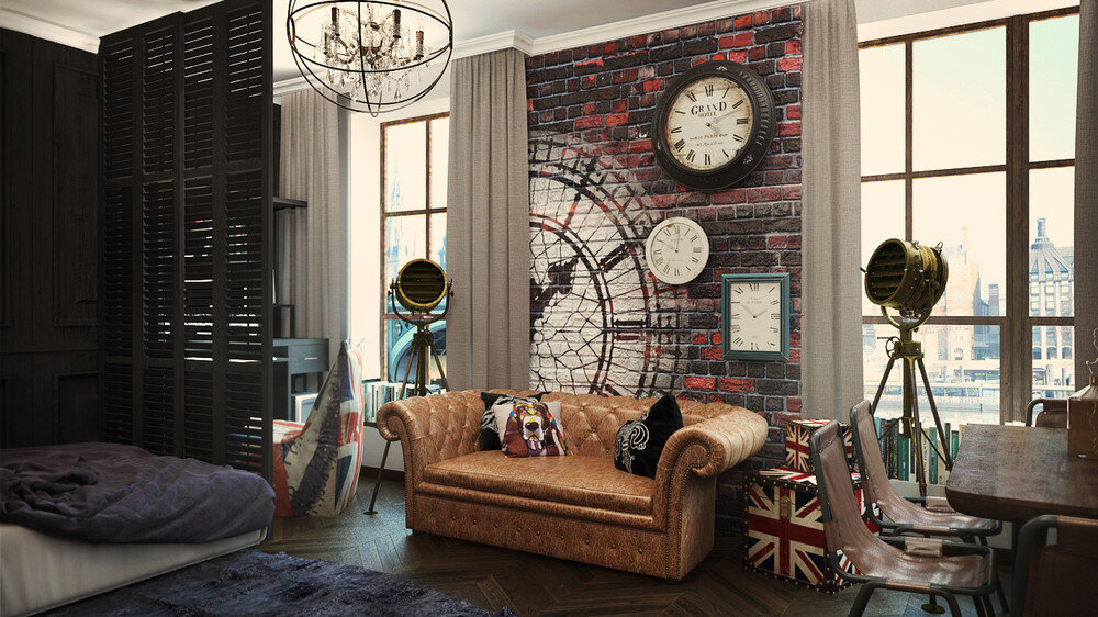 London Sky: eclectic 32 Sqm studio apartment in London