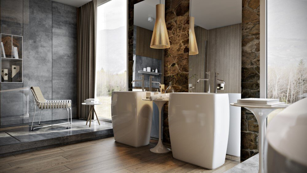 Bathroom by Paul Vetrov wood, stone and shadows - HomeWorldDesign (3)