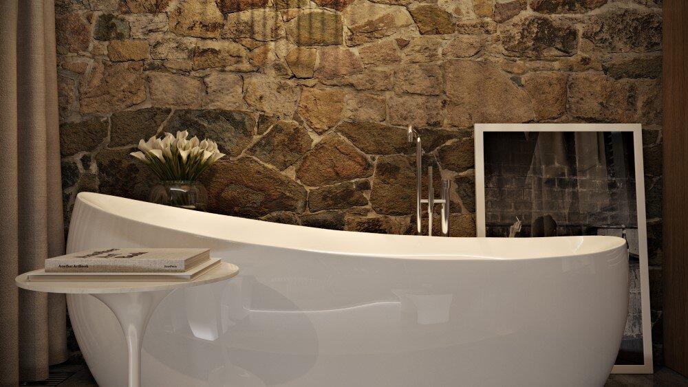 Bathroom by Paul Vetrov wood, stone and shadows - HomeWorldDesign (9)