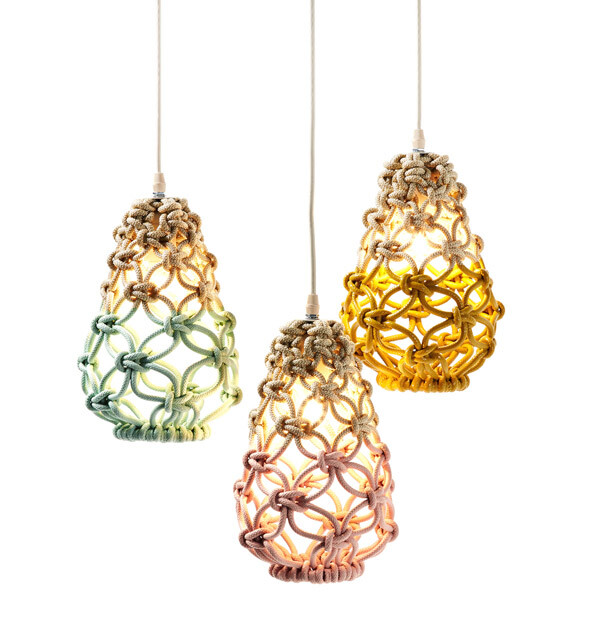 Macrame pendant lights - three collections by Sarah Parkes - HomeWorldDesign (10)