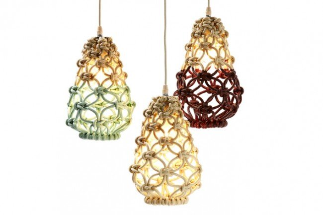 Macrame pendant lights - three collections by Sarah Parkes - HomeWorldDesign (3)