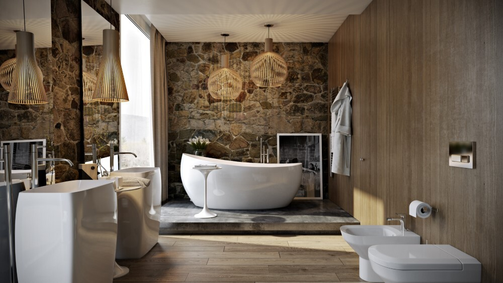 Modern bathroom by Paul Vetrov: wood, stone and shadows
