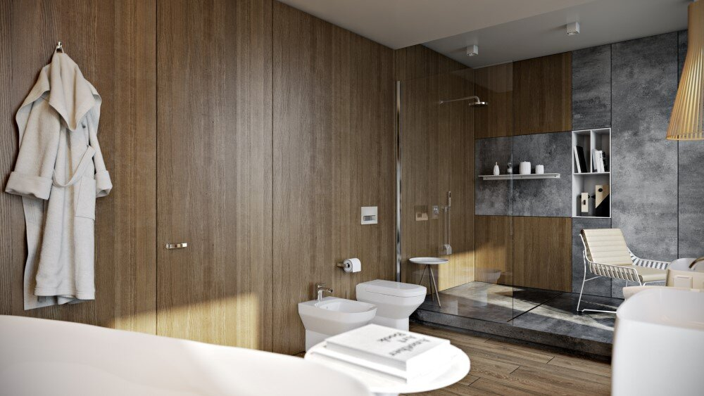Modern bathroom by Paul Vetrov wood, stone and shadows - HomeWorldDesign (2)