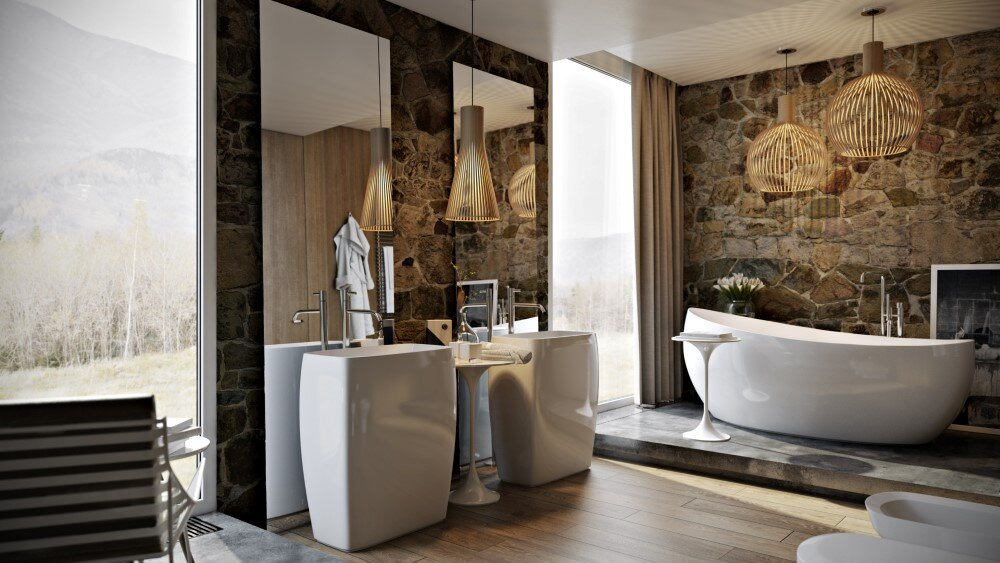 Modern bathroom by Paul Vetrov wood, stone and shadows - HomeWorldDesign (5)