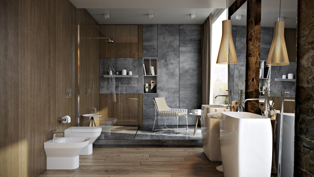 Modern Bathroom By Paul Vetrov Wood Stone And Shadows