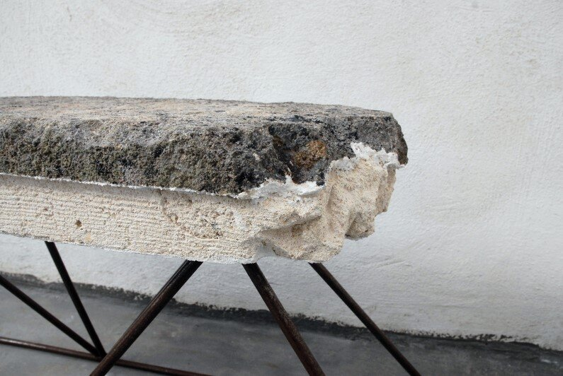 Calcarenite Series pieces carved by Cosma Frascina - benches