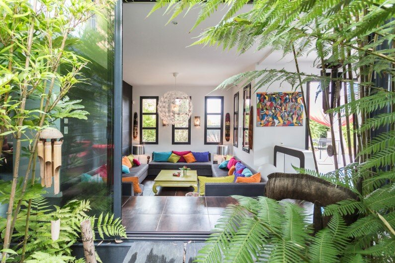 Interiors and contemporary garden