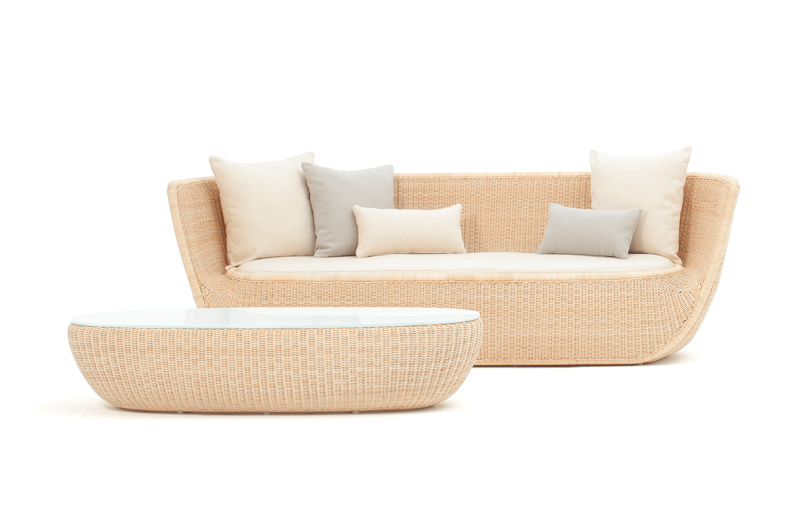 Rattan sofa and coffee table by Japanese designer Hiroomi Tahara