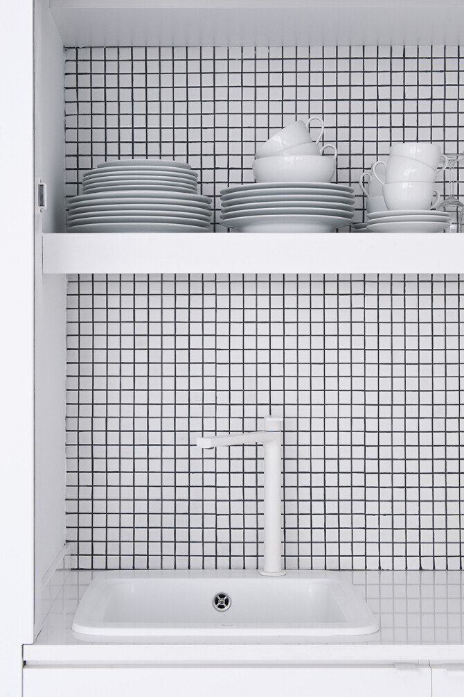 kitchen shelves - The White Retreat, Sitges, Spain