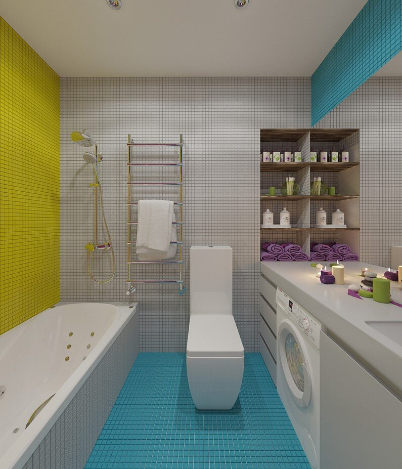 Apartment Moscow - bright design, freshness and playful colors - bathroom