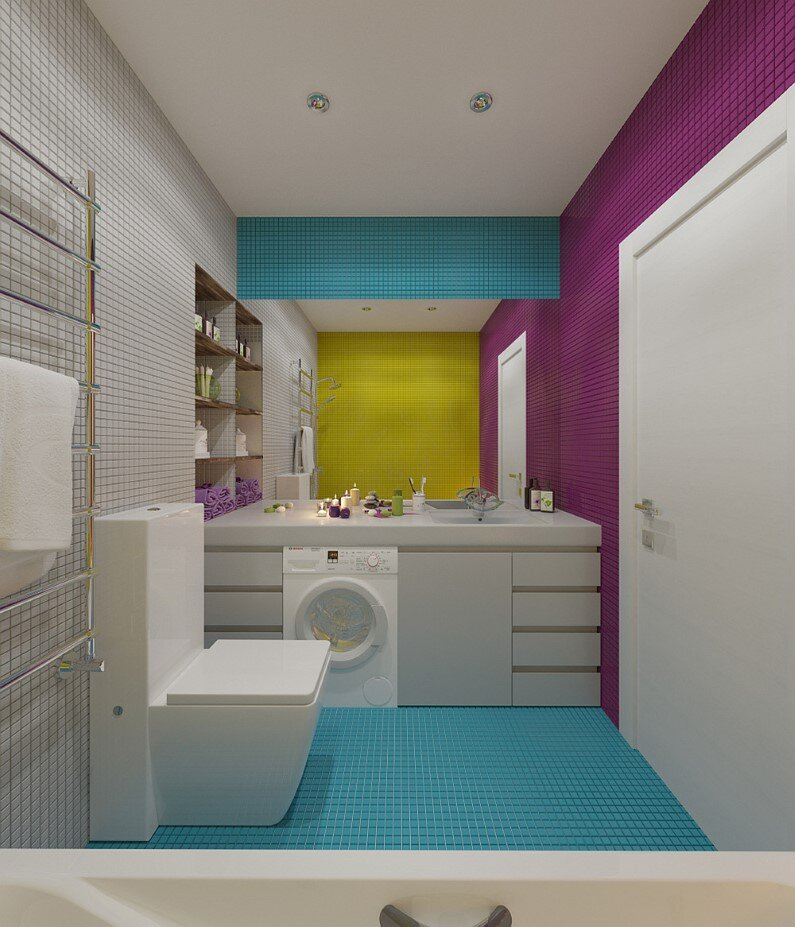 Apartment in Russia - bright design, freshness and playful colors - bathroom