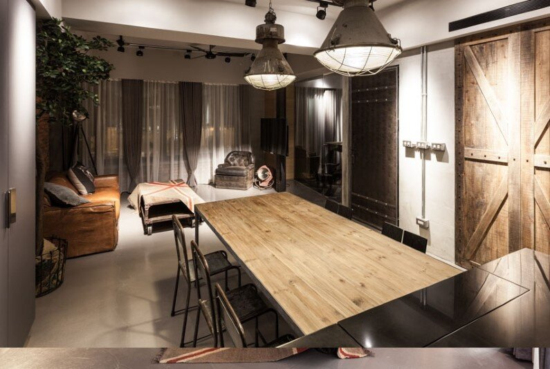 Dinning room - Taipei apartment interior design based on industrial and vintage style