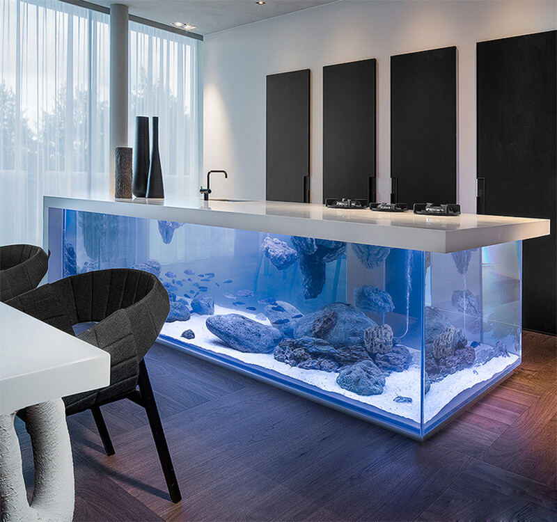 Kitchen with  large aquarium for a base - Dutch interior designer Robert Kolenik