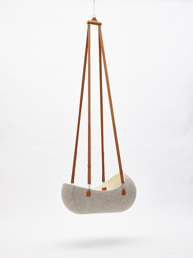 Little Nest- a hanging cradle made from felt and leather
