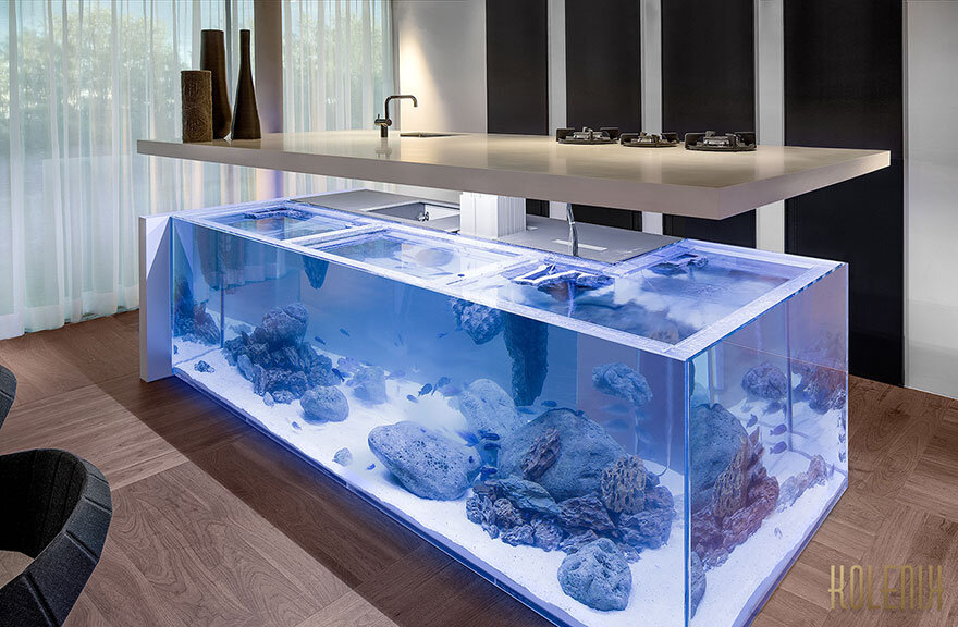 Ocean Kitchen with beautiful large aquarium for a base - Dutch interior designer Robert Kolenik