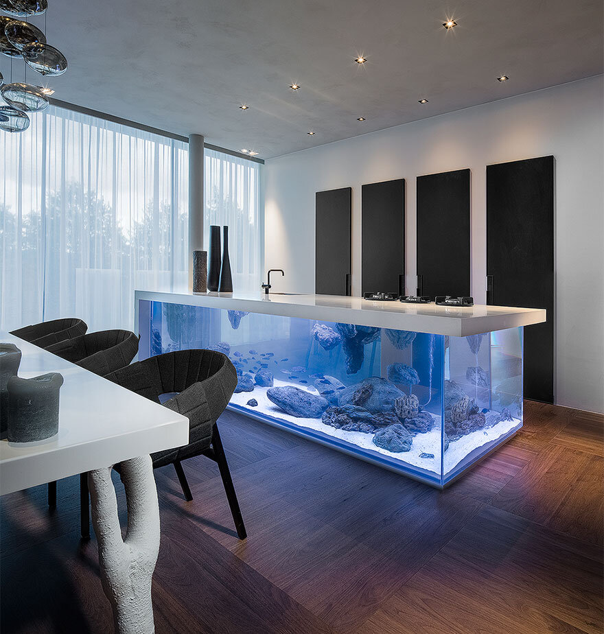 Ocean Kitchen with beautiful large aquarium for a base - by designer Robert Kolenik