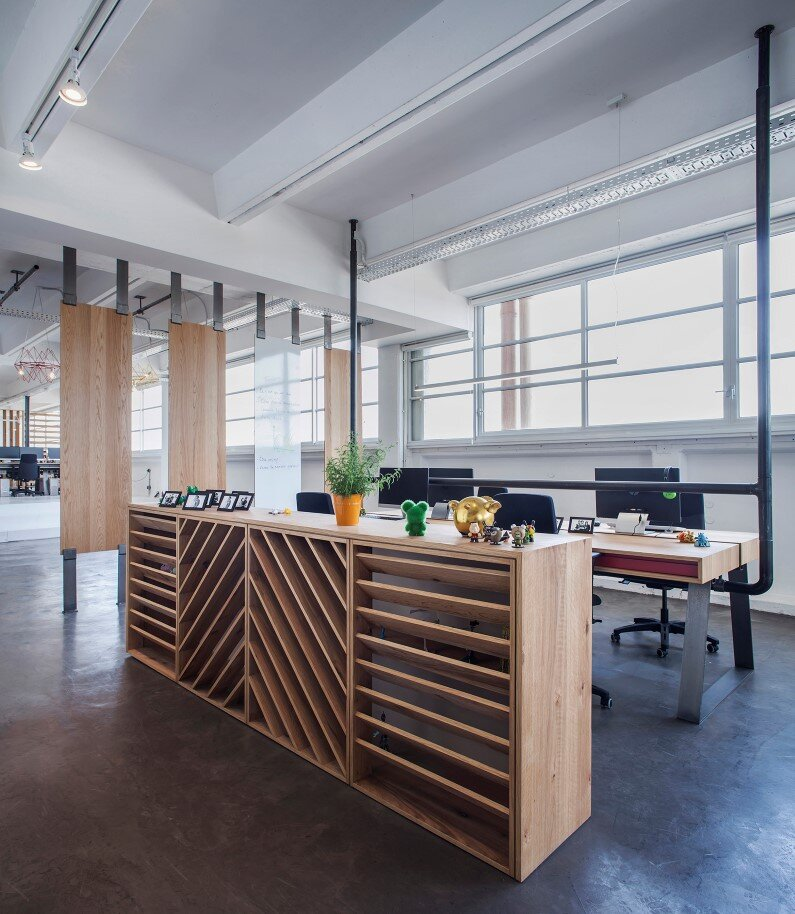 Industrial style workspace roy david architecture for Office design game