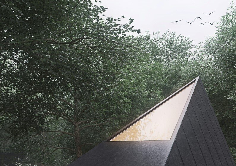 Retreat in a forest with minimal impact on the environment  by Polish designer Tomek Michalski