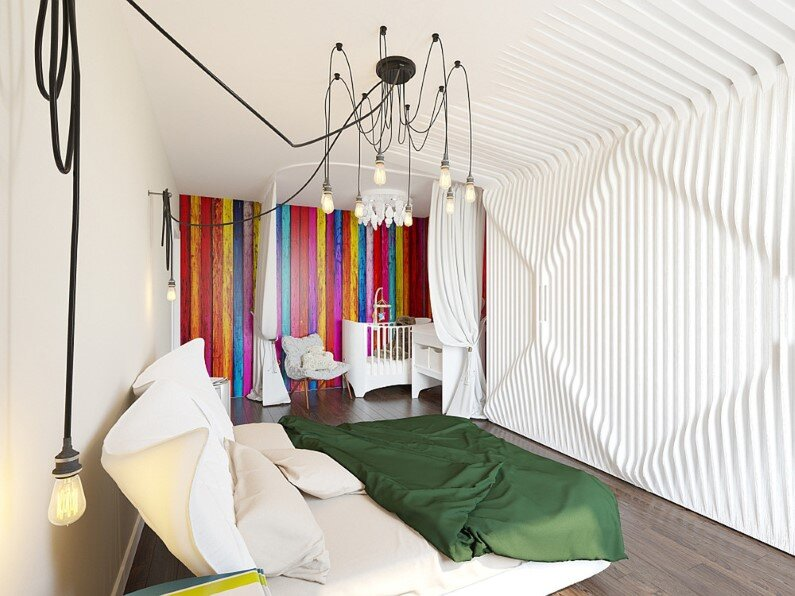 Small Apartment - bright design, freshness and playful colors by Russian designer and architect Tatiana Zhivolupova - bedroom