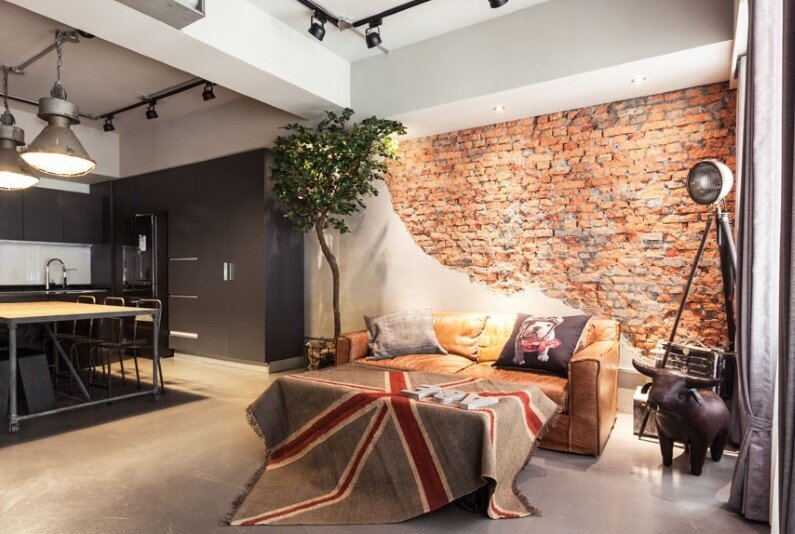 Taipei apartment interior design based on industrial and vintage style