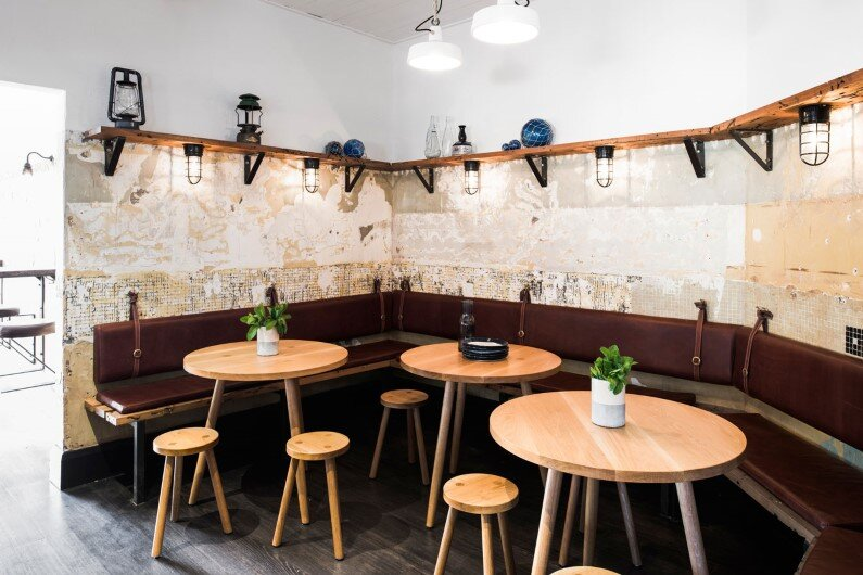Nelson Bar by Techne: maritime, timeworn and rustic feel
