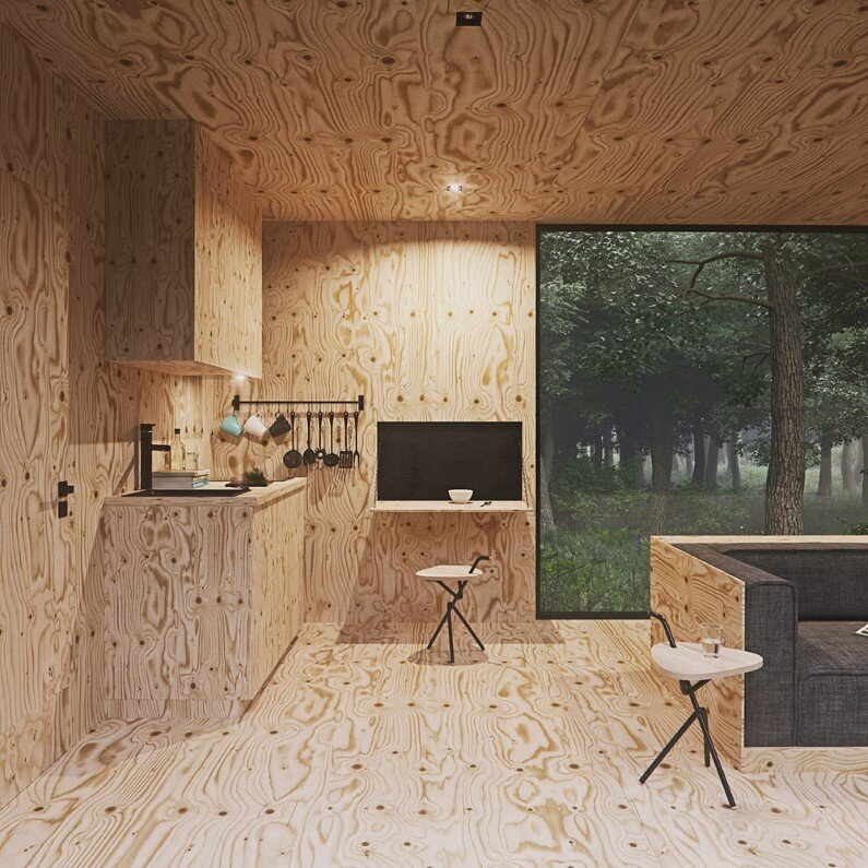 Wood retreat in a forest with minimal impact on the environment