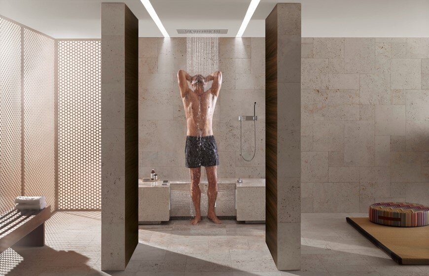 Comfort Shower from Dornbracht lets you shower while sitting down