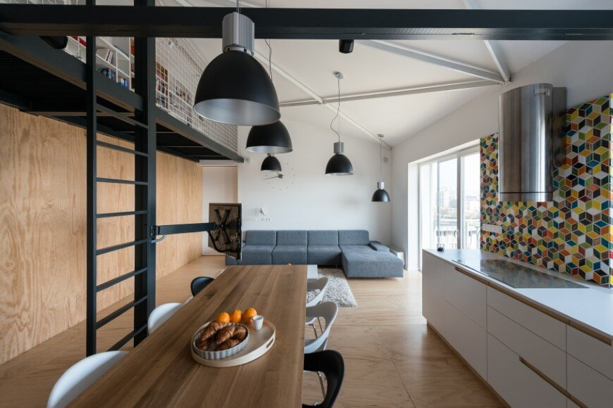 Industrial style in harmony with warm natural materials in a cozy loft by Rules Architects - Bratislava (16)