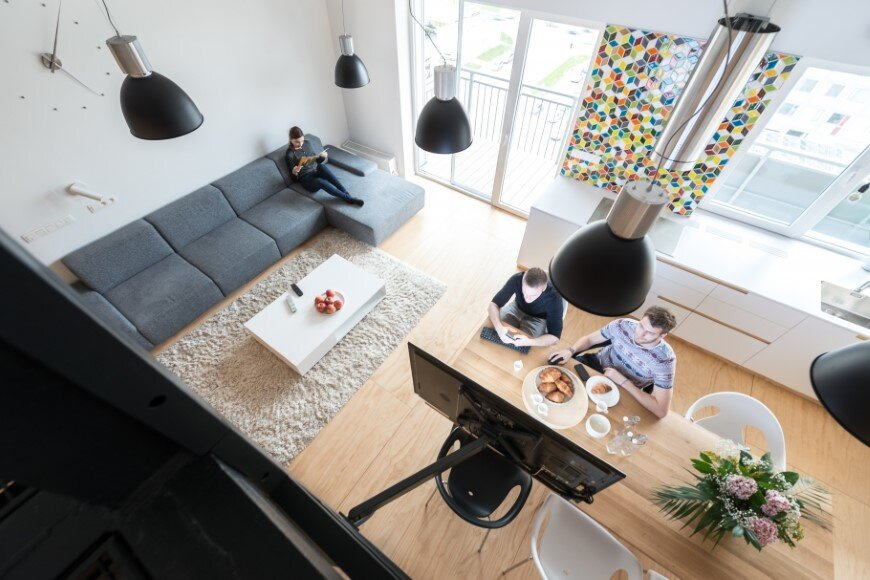 Industrial style in harmony with warm natural materials in a cozy loft by Rules Architects - Bratislava (6)