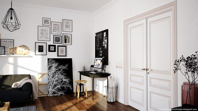 Monochromatic interior design by Anastasia Andreichenko  (4)