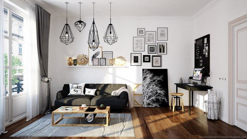 Monochromatic interior design by Anastasia Andreichenko  (9)