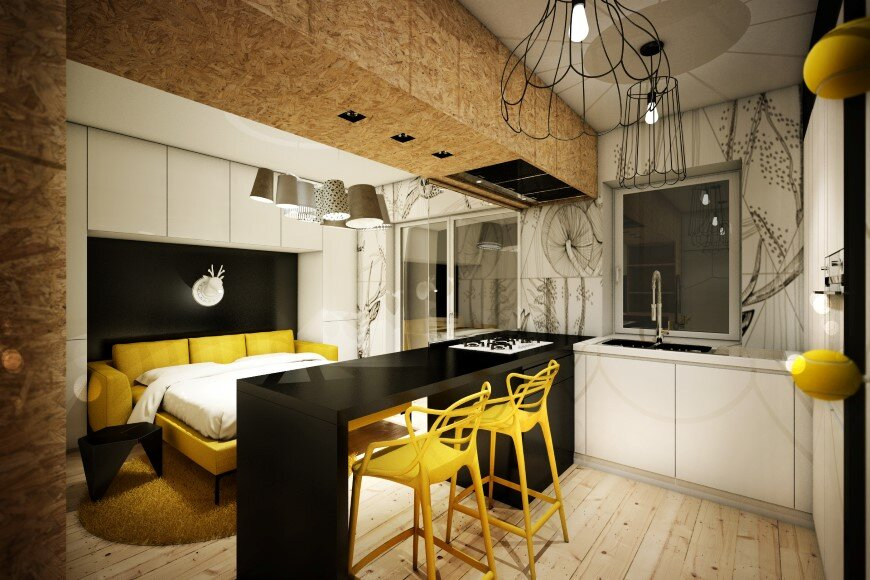 Yellow Touch Apartment 25 sqm yellow-black contrast in Rome (2)