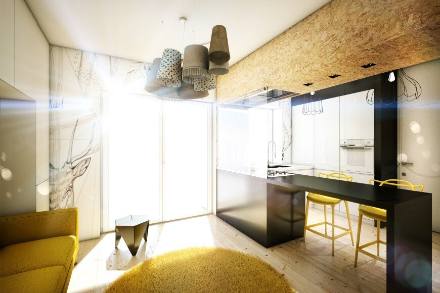 Yellow Touch Apartment 25 sqm yellow-black contrast in Rome (3)